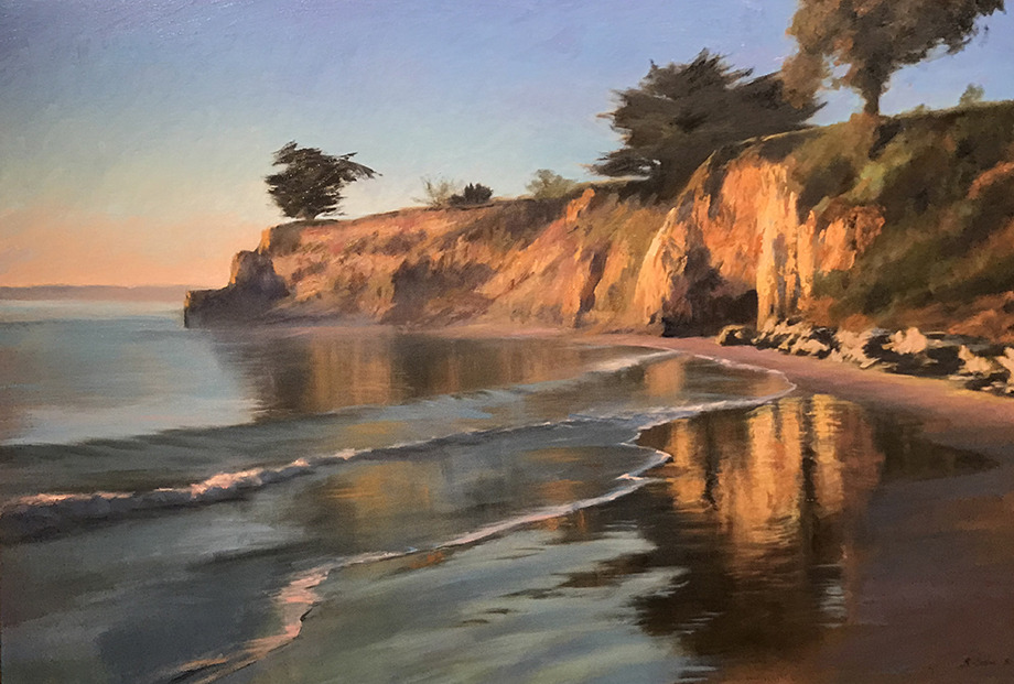 "Richard Schloss   "" Santa Barbara Point From Leadbetter Beach "" 32 x 48   oil on canvas"